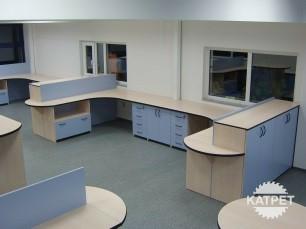 Modré kancelářské vybavení